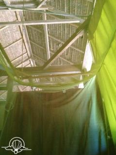 Inside my mosquito net and hut